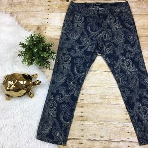 Nanette Lepore Paisley Print Cropped Jeans